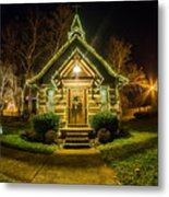 Tiny Chapel With Lighting At Night Metal Print