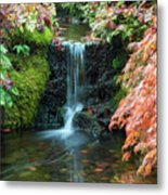 Tiny Waterfall In Japanese  Garden.the Butchart Gardens,victoria.canada. Metal Print