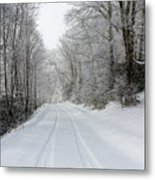 Tire Tracks In Fresh Snow Metal Print