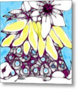 Tired Turtle With Bananas And Blooms Metal Print