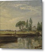 Title Barge Below Flatford Lock Metal Print