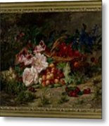 Title Flowers And Fruit Metal Print