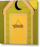 To The Beach - Decorative Outhouse And Sign Metal Print