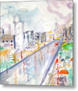 To The Wet City Metal Print