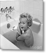 Toddler In Bath, 1950s Metal Print