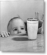 Toddler Reaching For Glass Of Milk Metal Print