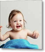 Toddler With A Cozy Blanket Sitting And Smiling. Metal Print