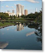 Tokyo Buildings And Garden Pond Metal Print