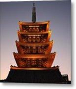 Tokyo Temple Lights Metal Print