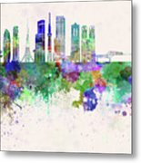 Tokyo V3 Skyline In Watercolor Background Metal Print