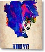 Tokyo Watercolor Map 2 Metal Print
