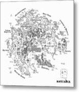 Tolkien Style Map Of Snowflakes Metal Print