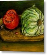 Tomato And Cabbage Oil Painting Canvas Metal Print