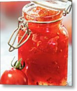 Tomato Jam In Glass Jar Metal Print