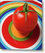 Tomato On Plate With Circles Metal Print