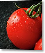 Tomatoes Close Up On Black Slate Metal Print