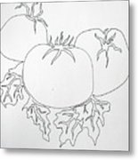 Tomatoes On A Vine In One Line Metal Print