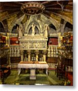 Tomb Of Saint Eulalia In The Crypt Of Barcelona Cathedral Metal Print