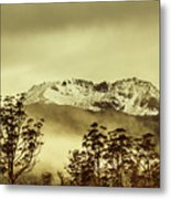 Toned View Of A Snowy Mount Gell, Tasmania Metal Print