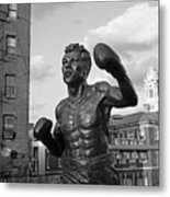 Tony Demarco Boxer Statue North End Boston Ma Sunset Black And White Metal Print