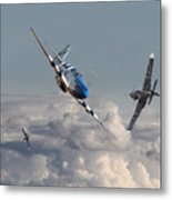 Top Gun - 1944 Version - P51 V Bf109g Metal Print