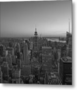 Top Of The Rock At Sunset Bw Metal Print