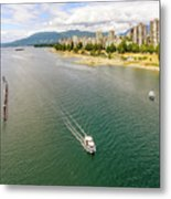 Top View Of English Bay In Summer, Vancouver Bc. Metal Print
