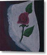 Torn Canvas Rose Metal Print