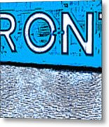 Toronto In The Rain Poster In Blue Metal Print