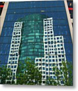 Toronto Metro Hall Reflected In The Cbc Building Metal Print