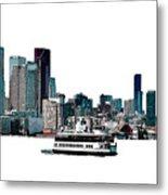 Toronto Portlands Skyline With Island Ferry Metal Print