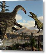 Torvosaurus And Apatosaurus Dinosaurs Fighting - 3d Render Metal Print