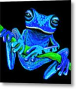 Totally Blue Frog On A Vine Metal Print
