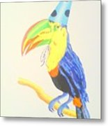 Toucan With  Party Hat Metal Print