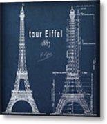 Tour Eiffel Engineering Blueprint Metal Print