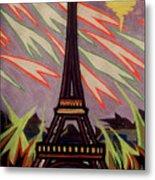 Tour Eiffel Et Ovni Metal Print