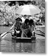 Tourist Boating Thru Tam Coc Bw Metal Print