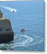 Tourist Boats And Cliffs In Algarve Metal Print