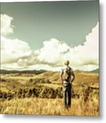 Tourist With Backpack Looking Afar On Mountains Metal Print