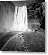 Tourists And Double Rainbow At Skogafoss Waterfall In Iceland Metal Print