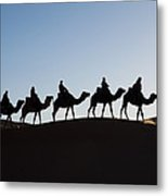 Tourists On Camels Along Top Of Erg Metal Print