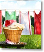 Towels Drying On The Clothesline Metal Print