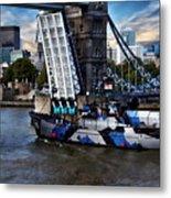 Tower Bridge And Boat Metal Print