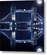 Tower Bridge In London By Night  Metal Print