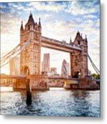 Tower Bridge In London, The Uk At Sunset. Drawbridge Opening Metal Print