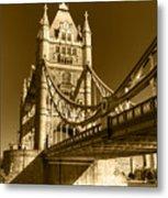 Tower Bridge In Sepia Metal Print