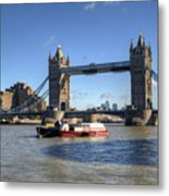 Tower Bridge With Canary Wharf In The Background Metal Print