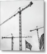 Tower Cranes Bw Construction Art Metal Print