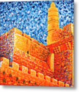 Tower Of David At Night Jerusalem Original Palette Knife Painting Metal Print
