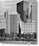Tower Over Pittsburgh In Black And White Metal Print